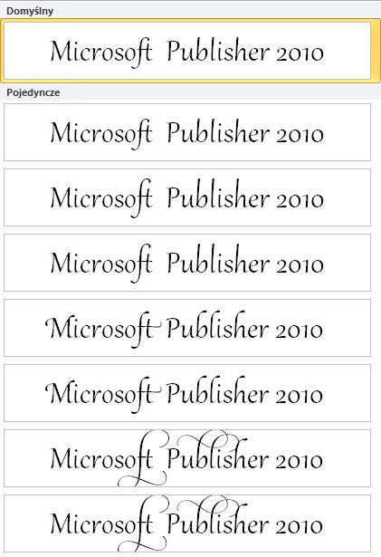 Zestaw stylistyczny zaawansowanej typografii dla czcionek OpenType w programie Publisher 2010
