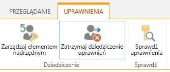 Kontrolka uprawnień listy/biblioteki z wyświetlonym przyciskiem Zatrzymaj dziedziczenie uprawnień