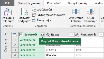 Naciśnij przycisk Łączenie plików binarnych z kolumny zawartości kwerendy lub sekcji Łączenie Wstążka dodatku Power Query