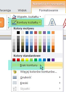 Wybierz pozycję Kontury kształtu, a następnie z wyświetlonego menu wybierz pozycję Brak konturu