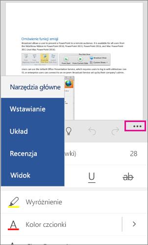 Wstążka pakietu Office dla systemu Windows Phone 10