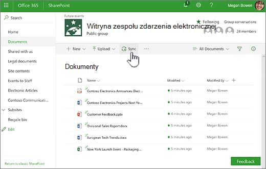 Biblioteki dokumentów z wybranym przyciskiem synchronizacji