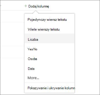 Kliknij pozycję Dodaj kolumnę, a następnie wybierz z listy