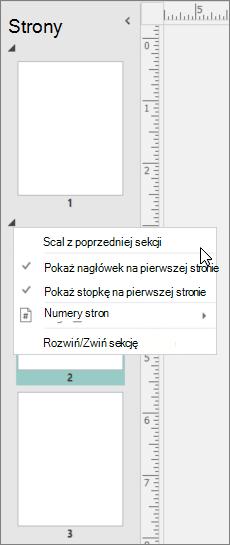 Zrzut ekranu przedstawia sekcji zaznaczone z kursorem wskazującym korespondencji seryjnej z opcją poprzedniej sekcji.