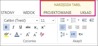 Obraz kart Projekt i Układ w obszarze Narzędzia tabel w aplikacji Word Web App