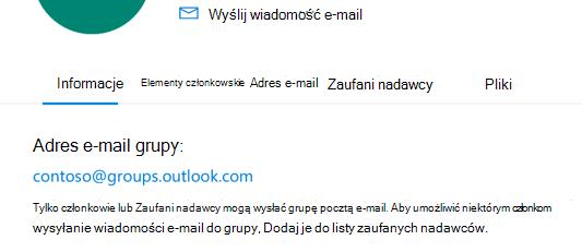 Dodaj zaufanych nadawców do grupy Outlook.com.