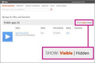 Pokazywanie widocznych lub ukrytych aplikacji dla pakietu Office