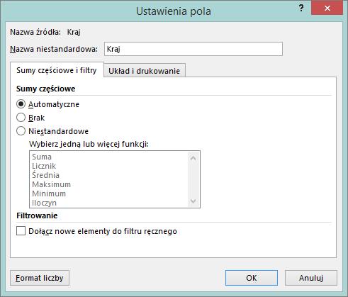 Karta filtry w oknie dialogowym Ustawienia pola i sumy częściowe