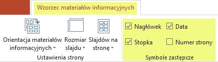 Wyczyść pole wyboru, na przykład obok pozycji Nagłówek, aby usunąć tę funkcję z materiałów informacyjnych.