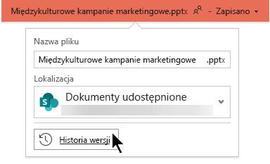 Wybierz nazwę pliku na pasku tytułu, aby uzyskać dostęp do historii wersji pliku