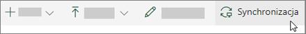 Pasek narzędzi usługi SharePoint Online z wybraną opcją Synchronizuj