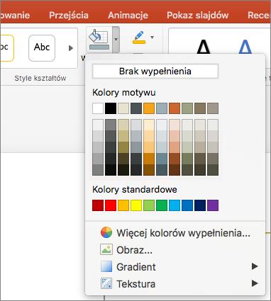 Zrzut ekranu przedstawiający opcje dostępne w menu Wypełnienie kształtu, tym Brak wypełnienia, Kolory motywu, Kolory standardowe, Więcej kolorów wypełnienia, Obraz, Gradient i Tekstura.
