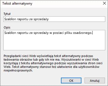 Okno dodawania tekstu alternatywnego do wydruku pliku