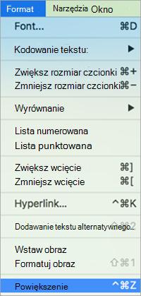 Pokazuje wybranie powiększenia w Format menu