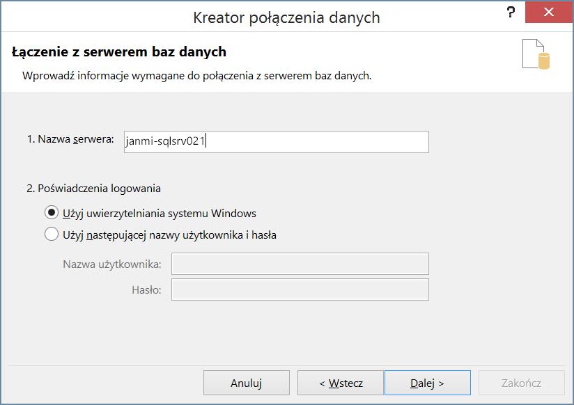 Nawiązywanie połączenia z serwerem bazy danych