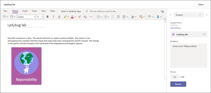 Dodawanie opinii do zadań uczniów przy użyciu dodatku Notes zajęć, który można znaleźć wobszarze Zadania aplikacji Microsoft Teams.