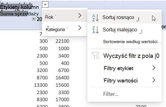 Obszar Wiersze z połączonymi filtrami