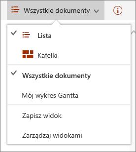 Menu widoków programu Microsoft Edge