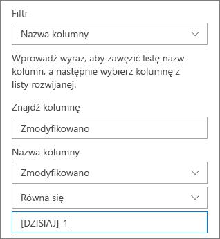 Filtr dla biblioteki dokumentów przy użyciu nazwy kolumny