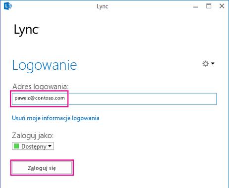 Sekcja okna logowania programu Lync z wyróżnioną opcją usuwania informacji logowania