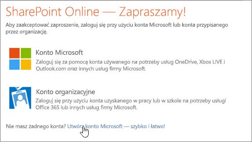 Zrzut ekranu przedstawiający ekran logowania usługi SharePoint Online z zaznaczonym linkiem umożliwiającym utworzenie konta Microsoft.