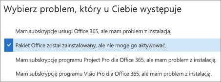 Pokazuje opcję Aktywacja pakietu Office w Asystencie odzyskiwania i pomocy technicznej