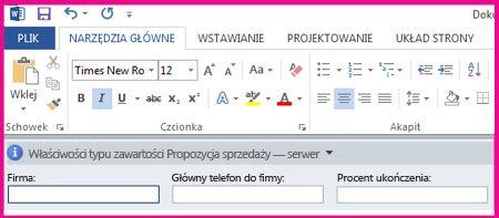 Panel informacji o dokumencie z polami tekstowymi formularza, który służy do zbierania metadanych od użytkowników.