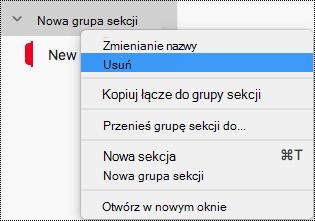 Usuwanie grupy sekcji w programie OneNote dla komputerów Mac