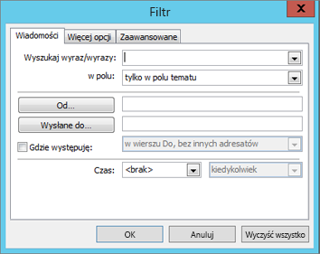 Wybierz pozycję Filtruj, jeśli chcesz zaimportować tylko konkretne wiadomości e-mail.