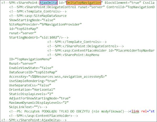 Zrzut ekranu przedstawiający DeltaTopNavigation kodu do usunięcia