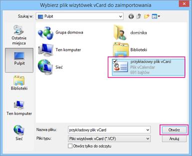 Wybierz plik vCard, który chcesz zaimportować do pliku csv.