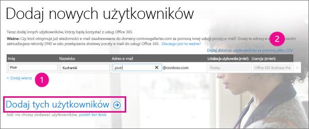 Dodaj użytkowników do dzierżawy usługi Office 365