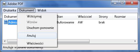 W menu Dokument kliknij przycisk Anuluj.