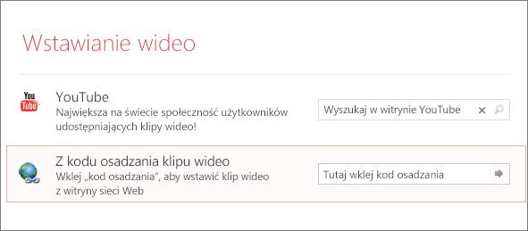 Opcja osadzenia klipu wideo w programie PowerPoint