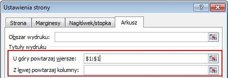Opcje drukowania tytułu wyróżnione w oknie dialogowym Ustawienia strony