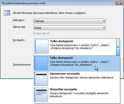 Lista Szczegóły w oknie dialogowym Wysyłanie kalendarza pocztą e-mail