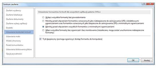 Obszar Ustawienia kontrolek ActiveX w Centrum zaufania