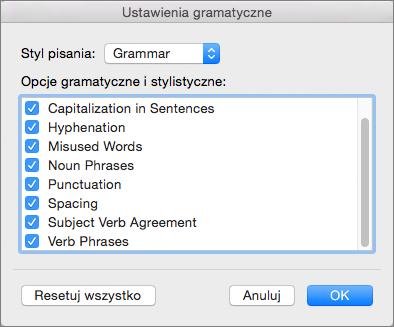 W obszarze Ustawienia gramatyczne wybierz kategorie problemów wyszukiwane przez program Word.