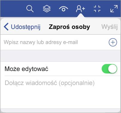 Wpisz nazwy lub adresy e-mail i zaproś inne osoby do wyświetlenia diagramu w aplikacji Visio Viewer dla tabletu iPad.