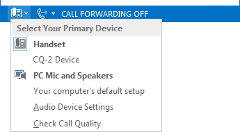 Zrzut ekranu menu Wybierz główne urządzenie