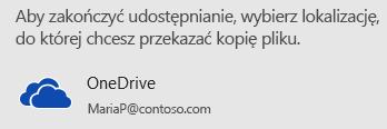 Jeśli prezentacja nie została zapisana w usłudze OneDrive ani w witrynie SharePoint, w programie PowerPoint zostanie wyświetlony monit o zrobienie tego.