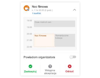 Zaproszenie na spotkanie z minikalendarzem u góry, sekcją komentarzy w centrum i przyciskami odpowiedzi u dołu