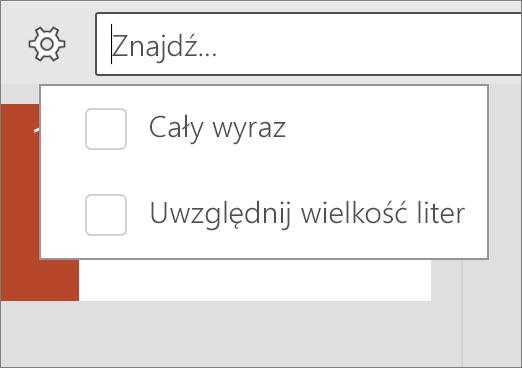 Pokazuje opcje Uwzględnij wielkość liter i Uwzględnij wyrazy w programie PowerPoint dla systemu Android.