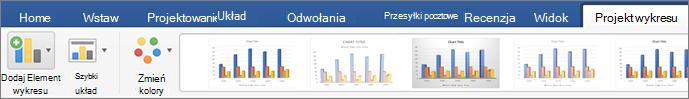 Kliknij kartę Projekt wykresu, a następnie kliknij pozycję Dodaj element wykresu