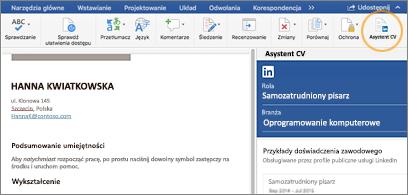 Życiorys z lewej strony ekranu i okienko Asystent CV z prawej strony