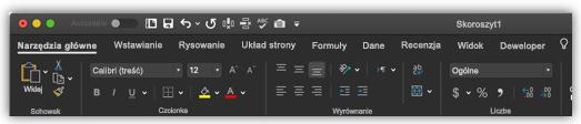 obraz wstążki programu Excel w trybie ciemnym