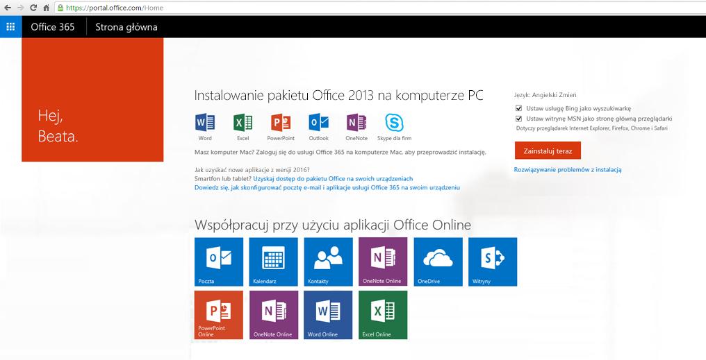 Zrzut ekranu przedstawiający instalowanie usługi Office 365 na komputerze.