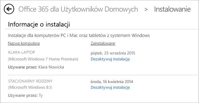 Strona Instalowanie z nazwą komputera oraz imieniem i nazwiskiem (nazwą) osoby, która zainstalowała pakiet Office.