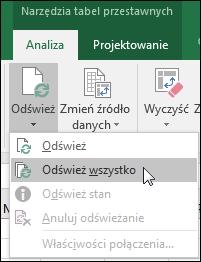 Odśwież wszystkie tabele przestawne, przechodząc na Wstążce do pozycji Narzędzia tabel przestawnych > Analiza > Dane, kliknij strzałkę pod przyciskiem Odśwież i wybierz polecenie Odśwież wszystko.
