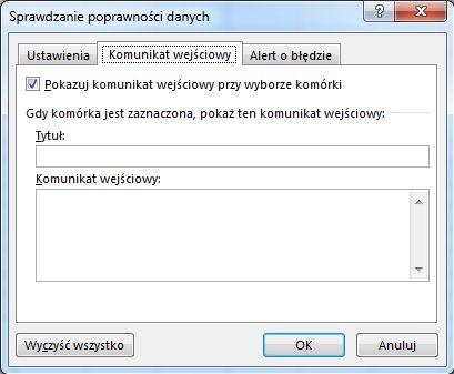 Wybieranie wiadomości, która ma być wyświetlana użytkownikom rozpoczynającym korzystanie z listy rozwijanej w programie Excel